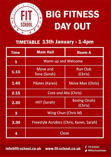 BIG Fitness Day Out Timetable